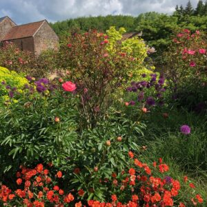 Colourful gardens at Grendon Court